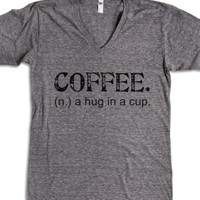 Coffee. A Hug In A Cup. Tee (Artistamp)-Athletic Grey T-Shirt L |