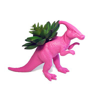 Up-cycled Hot Pink Duckbill Dinosaur Planter