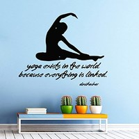 Wall Decor Vinyl Decal Sticker Quote Sport Girl Yoga Exists in the World Because Everything Is Linked Gym Bedroom Living Room Home Interior Design Kg819