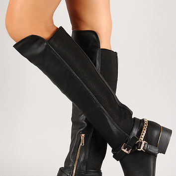 Chain Strap Knee High Boot