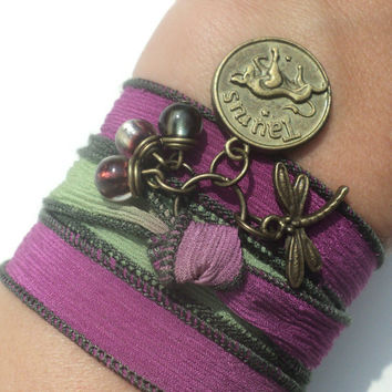 Pick Your Sign Zodiac Silk Wrap Bracelet Dragonfly Yoga Jewelry Anklet Necklace Earthy Unique Gift Under 50 Item D9
