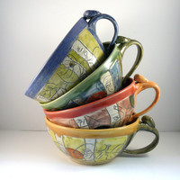 Four ceramic soup mugs or cappucino cups MADE by BlueSkyPotteryCO
