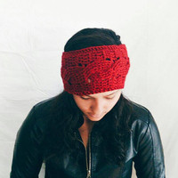 Crochet ear warmer in red, Womens winter hat - All through the cables - Crochet headband