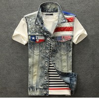 Juice Action Mens American Flag Denim Vest