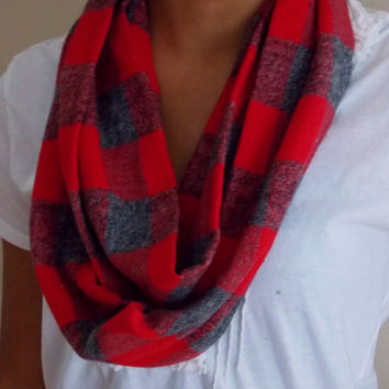 Skinny Scarf. Flannel Infinity Scarf. Red and Gray Flannel Scarf. Adult Size Infinity Scarf.