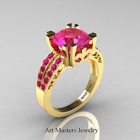 Modern Vintage 14K Yellow Gold 3.0 Carat Pink Sapphire Solitaire Ring R102-14KYGPS