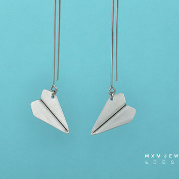 Tiny Paper Airplane Earrings ll