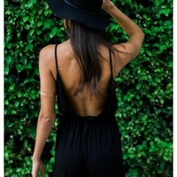Pepper - Black backleess jersey knit playsuit with pockets.