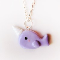 Polymer Clay Narwhal Charm Necklace - Available in Blue, Purple or Pink
