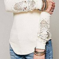 Free People Womens Synergy Cuff Thermal - Army, XS