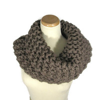 Outlander Inspired Cowl, Knit Scarf, Hand Knit Cowl, Circle Scarf, Taupe Scarf,  Brown, Winter, Infinity Scarf, Chunky Scarf