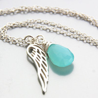 Angel Wing Necklace Aquamarine Chalcedony Gemstone Necklace Sterling Silver Sea Blue Necklace Wing Pendand Sterling Silver Dainty Jewelry