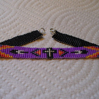 Native American style loom beaded Cross bracelet