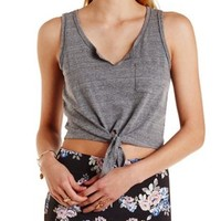 Notched Neckline Tie-Front Tank Top