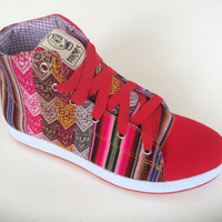 Pancho's Footwear - Red Hi-Top Sneakers