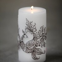 Free People Womens Henna Peacock Pillar Candle - White One