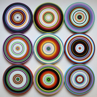 """Amy Giacomelli Paintings Art Sculpture wood circles Original - 9 piece large set ... """"Round the Bend"""""""