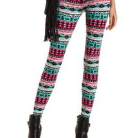 Cotton Tribal Print Leggings by Charlotte Russe - Multi