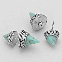 Turquoise Double Sided Tribal Cone Earrings