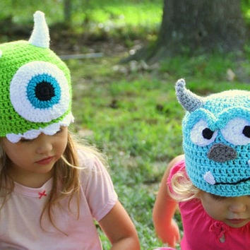 Mike and Sully Crochet hats Monsters Inc, Monsters University, sizes Newborn, 3-6 m, 6-12m, 1-2T, 2t and up, and Adult, Halloween costume