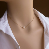 """Gold Floating Pearl Necklace, Hand Twisted, Wire Wrapped Single Pearl Layering Necklace, 16"""" - 17"""", 18"""" - 20"""""""