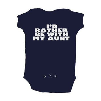 Baby Boy I'd Rather Be With My Aunt Navy Blue Baby by apericots