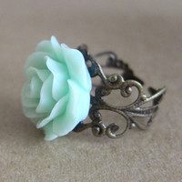 Mint Floral Ring Mint Rose Ring Mint Green Rose Ring Antique Filigree Ring - L'Amour - Antique Brass Filigree