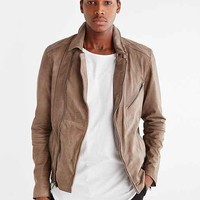 Your Neighbors Distressed Leather Moto Jacket- Oyster