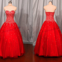 2014 red floor length prom dress with sequins,sweetheart quinceanera dresses,vintage beaded gowns for holidy party.