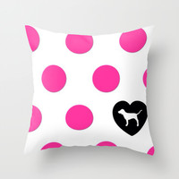 Polka Love Throw Pillow by Pink Berry Patterns