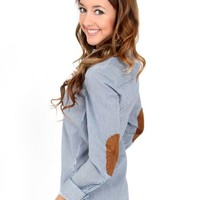 Heavenly Blues Seersucker Oxford With Elbow Patches | Monday Dress Boutique