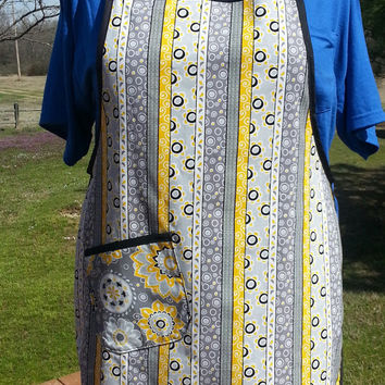 Full Lined Womens Apron with Ruffles Black Yellow and Grey