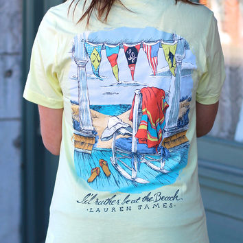 I'd Rather Be at The Beach Tee by LAUREN JAMES {Yellow}