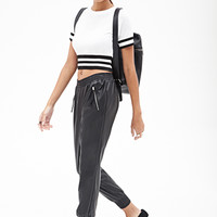 FOREVER 21 Faux Leather Joggers Black
