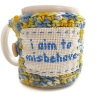 Coffee Cozy Crochet  I Aim to Misbehave  by tessacotton on Etsy