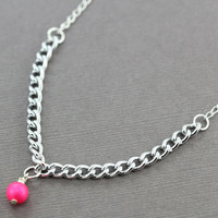 Pearl Necklace : Swarovski Pearl Necklace, Alternating Silver Chain, Simple, Boho, Pink, Fuchsia, Summer, ArtisanTree, Unique