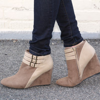 """""""Marilyn"""" Suede Wedge Booties with Leather Contrast Ankle Straps - Camel"""