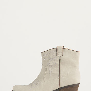 Western Stitched Ankle Boots - White