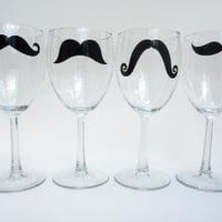 Mustache Wine Glasses Variety of Colors and by modernmadness