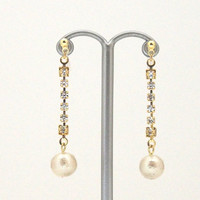 Popular in Japan! Dangle Crystal & Light Beige Japanese Cotton Pearl Invisible Clip on Earrings, Wedding Pearl Clip-on Earrings