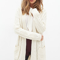 FOREVER 21 Longline Cable Knit Cardigan Cream