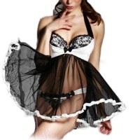 ANDI ROSE Sexy Lingerie Babydoll Lace Mini Dress Underwear Outfit Set