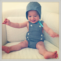 Unisex Two Piece Gingham Romper Set - picnic in the park