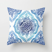 Indian Ink - in Blues Throw Pillow by Micklyn