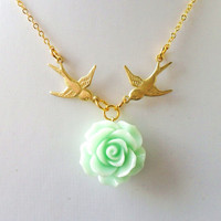 Mint Rose Necklace, Harry Necklace, Swallow Necklace, Tattoo Necklace, Gold Birds Green Flower Rose Rockabilly Traveller Vintage Styles