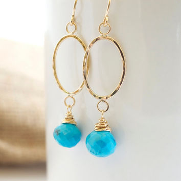 Turquoise Dangle Earrings, Gold Hammered Hoop Earrings, Turquoise and Gold Earrings, Modern Earrings