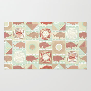 geo whales natural Area & Throw Rug by Sharon Turner