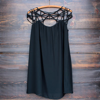caged up flowy chiffon dress in black