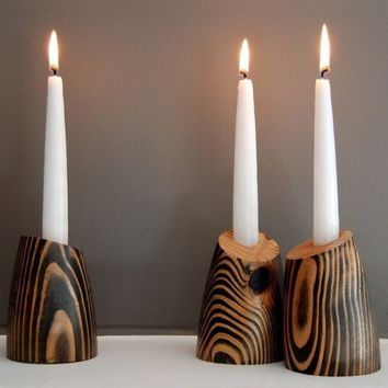 1 BILLIE Decorative Wood Candle Holder by jeanpelle on Etsy