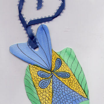 Fantasy Tropical Fish Watercolor Bookmark or Ornament - Handmade Crafts by Rosie Brown Creations